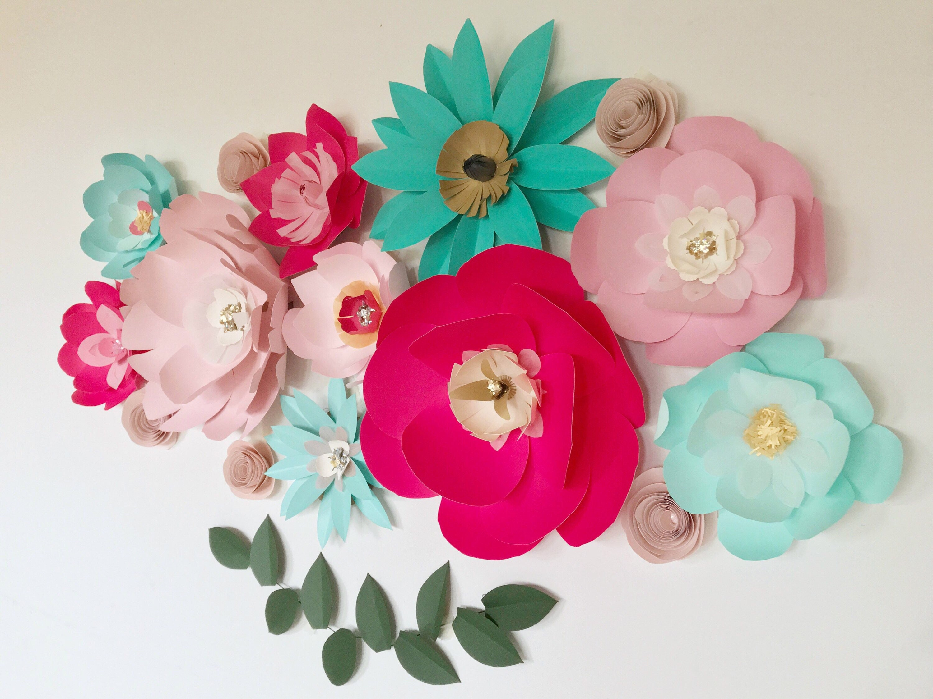 Wedding Flower Backdrop Giant Pink Paper Flowers Wall Decor Teal