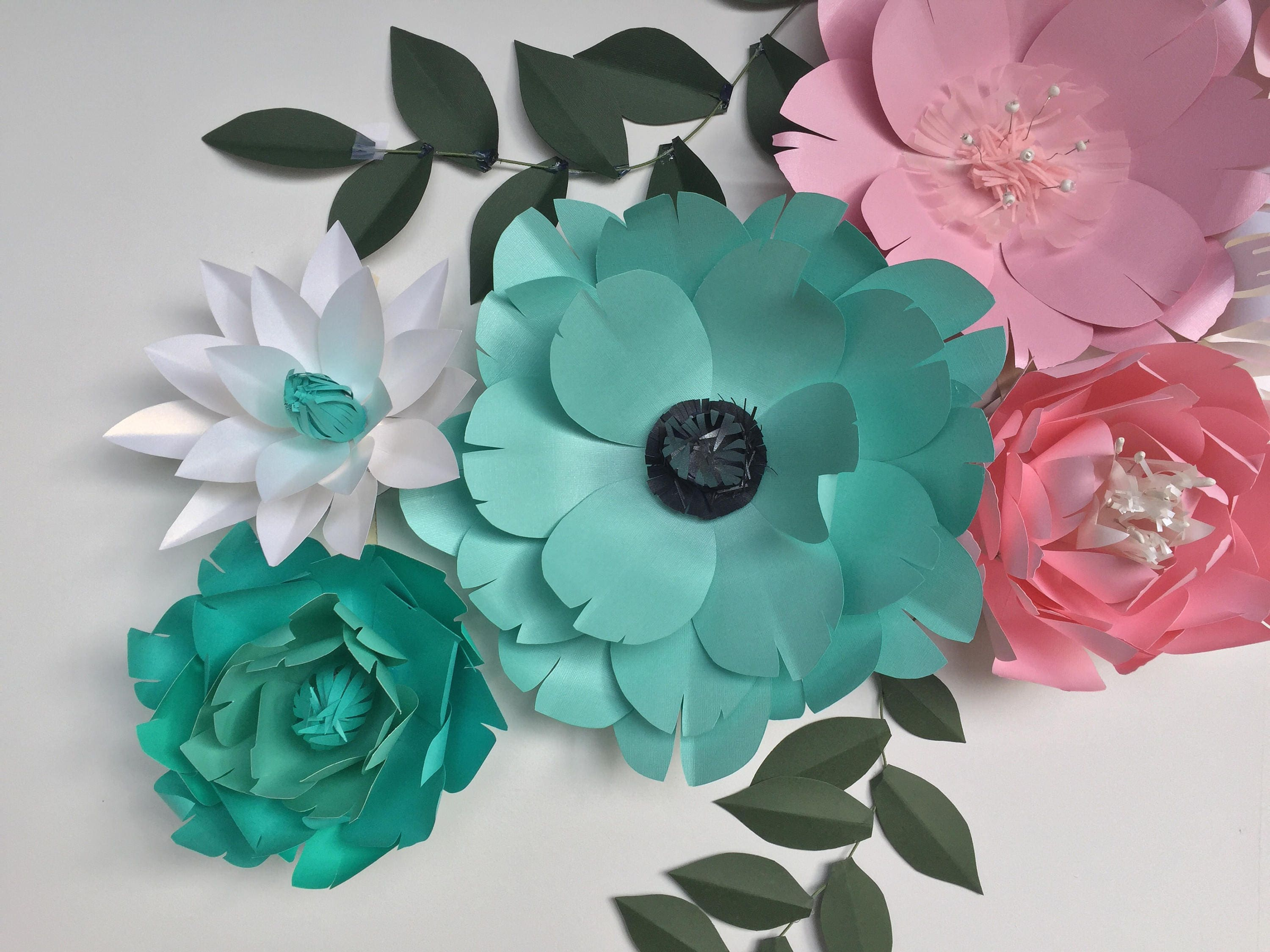 Turquoise wall decor paper flowers wall decor baby girl nursery teal gallery photo gallery photo mightylinksfo