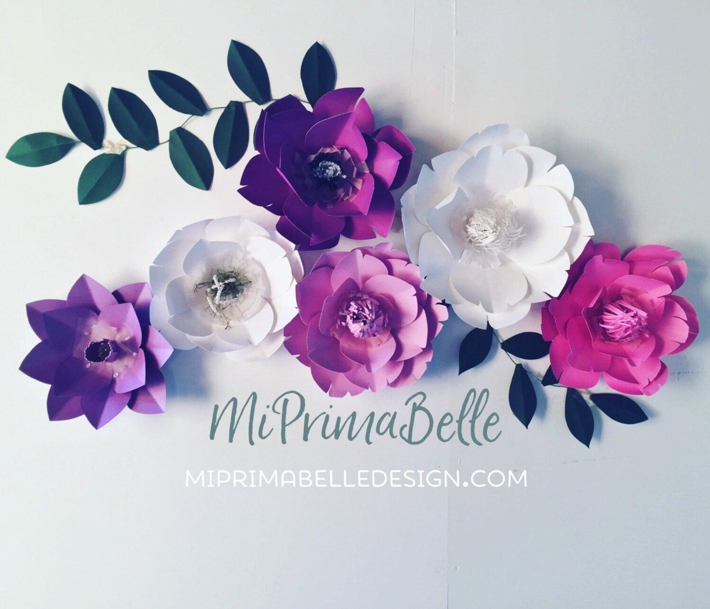 Purple paper flowers above the crib decor nursery mightylinksfo
