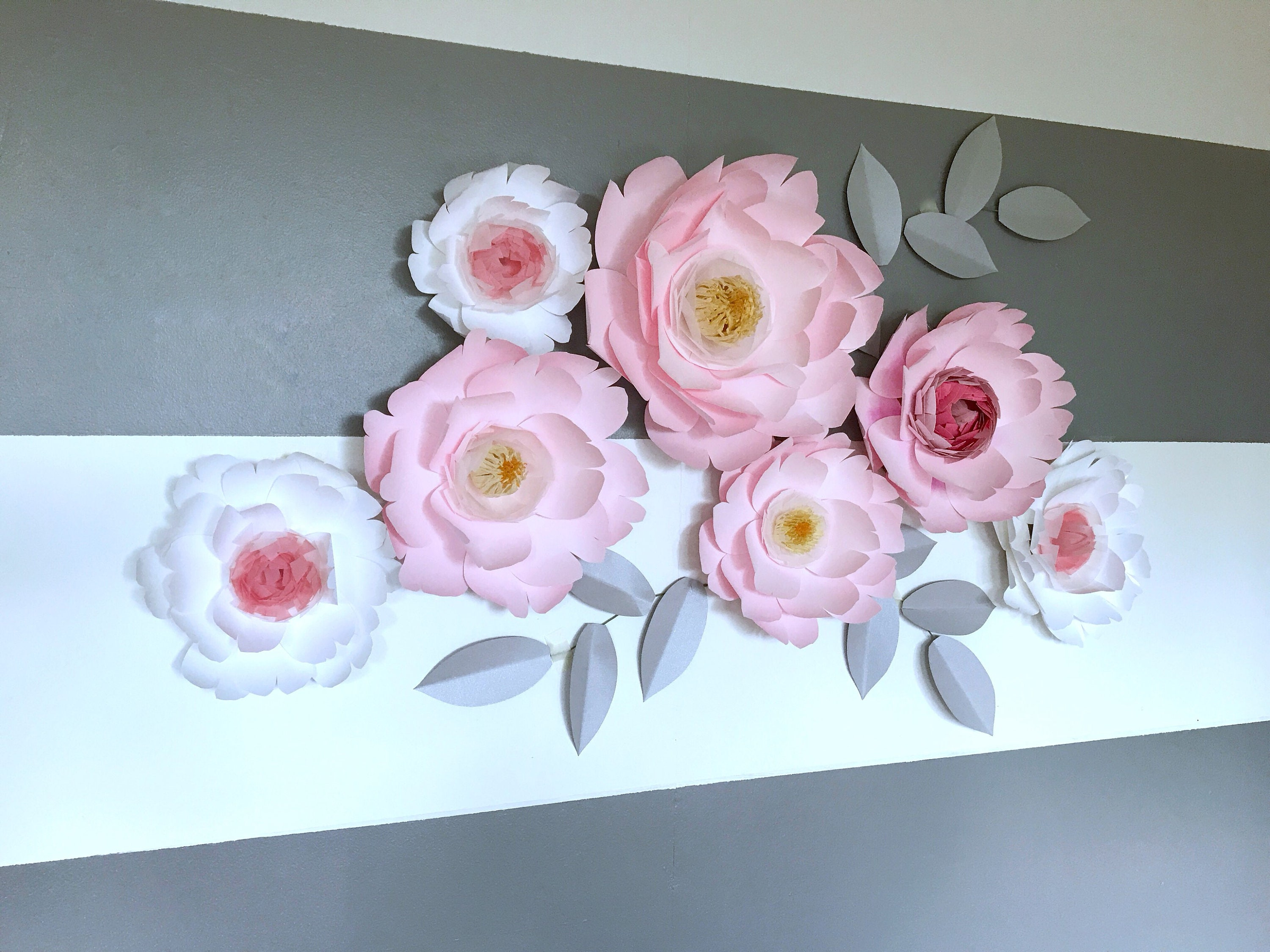 Peony Paper Flowers Wall Decor Baby Nursery Pink Peony Flower Decor