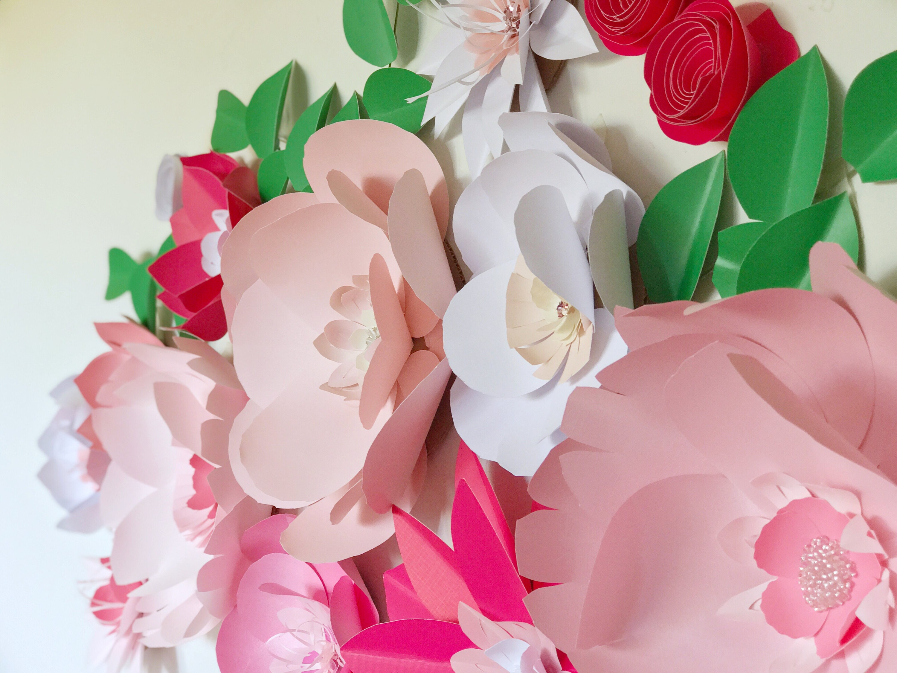 Pink paper flower wall decor giant pink flower wall white floral ...