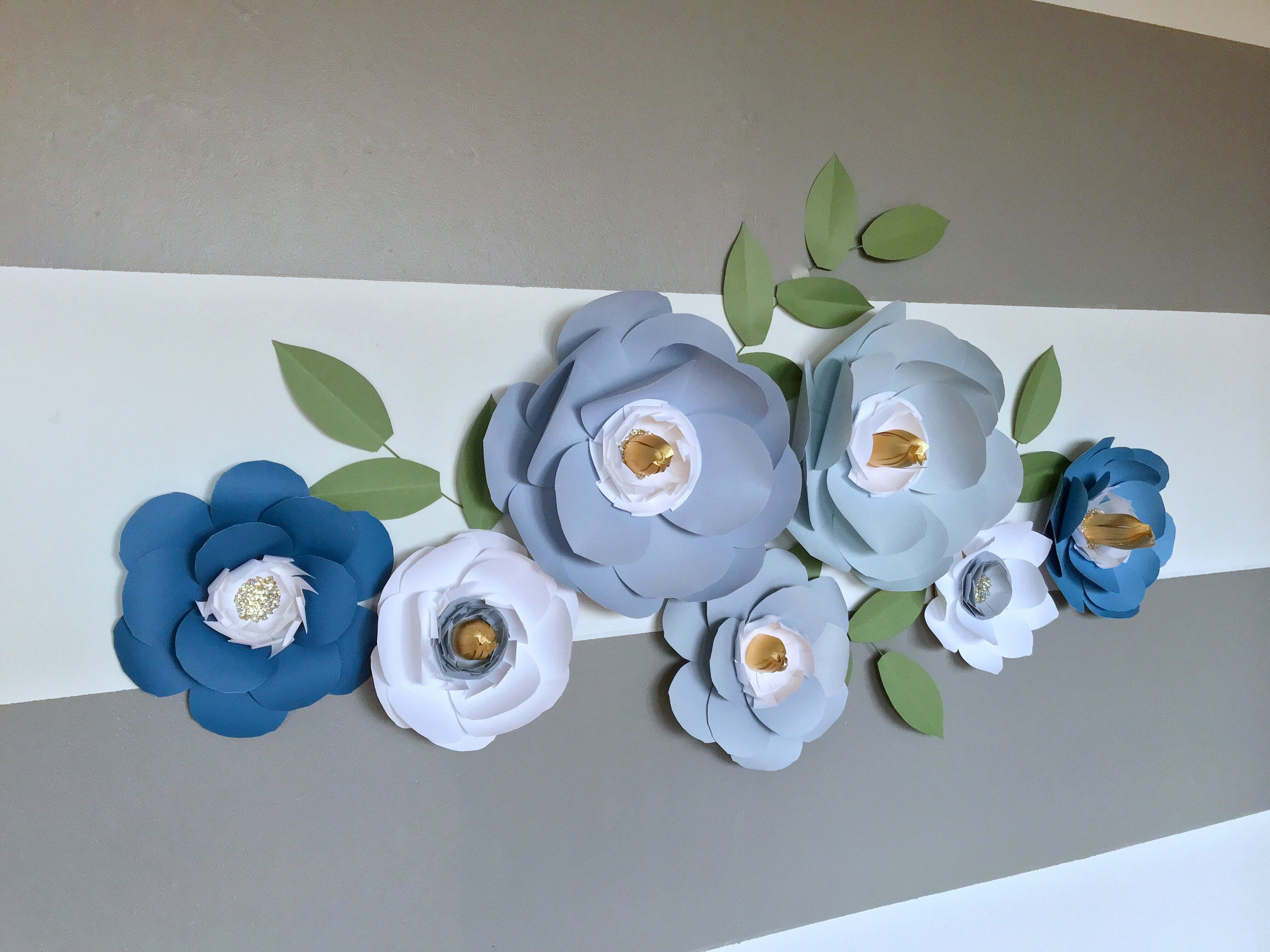 Dusty Blue Paper Flower Wall Decor Blue Nursery Decor Baby