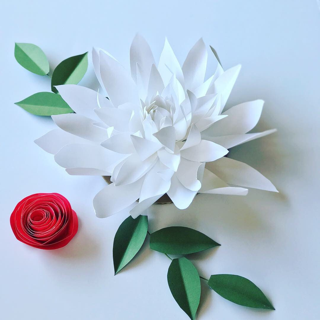 White Paper Dahlia Flower Decor Holiday Tree Ornament White Flower
