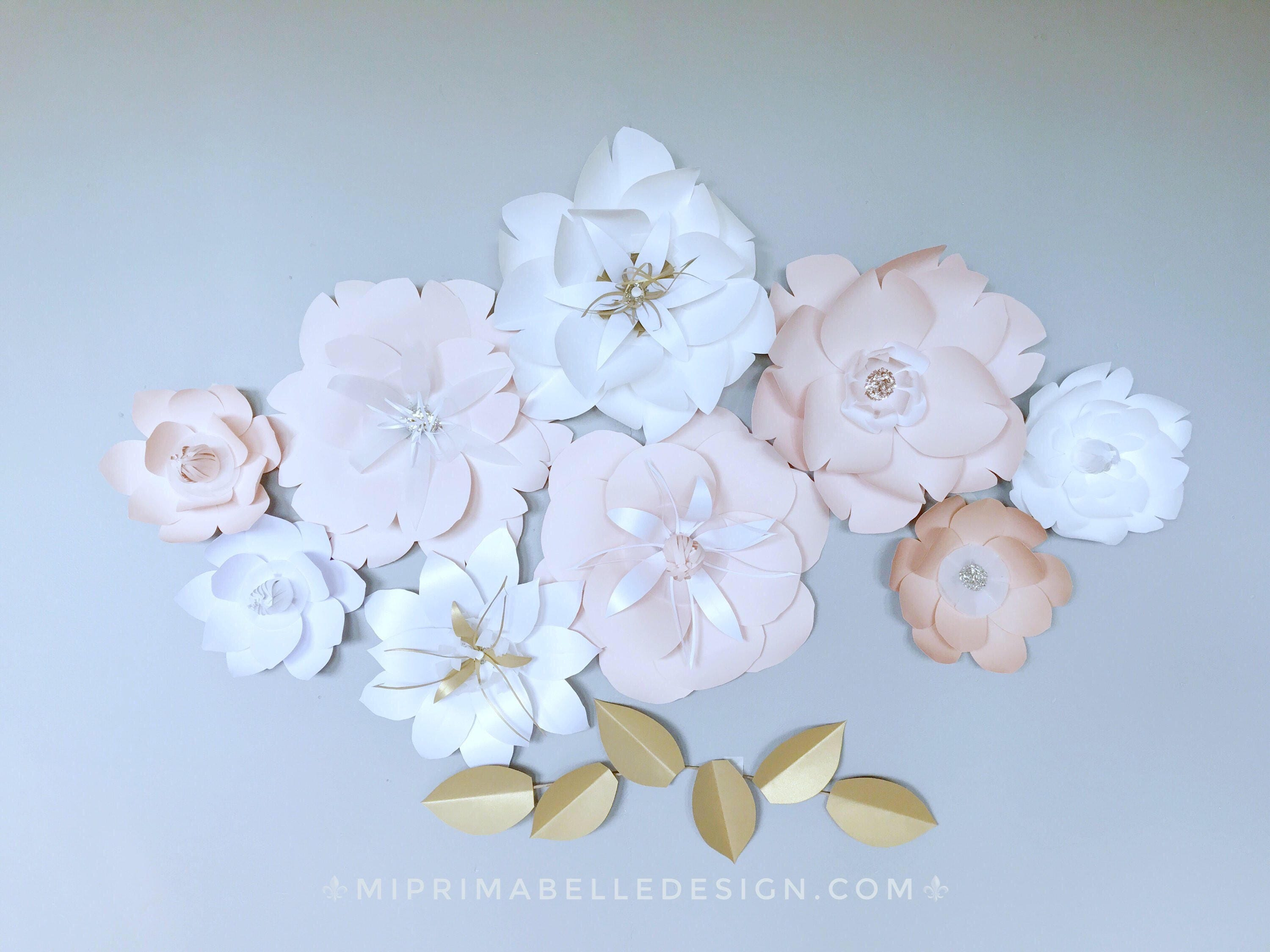 Neutral Colors Wedding Flowers Decor Blush And Gold Paper Flowers