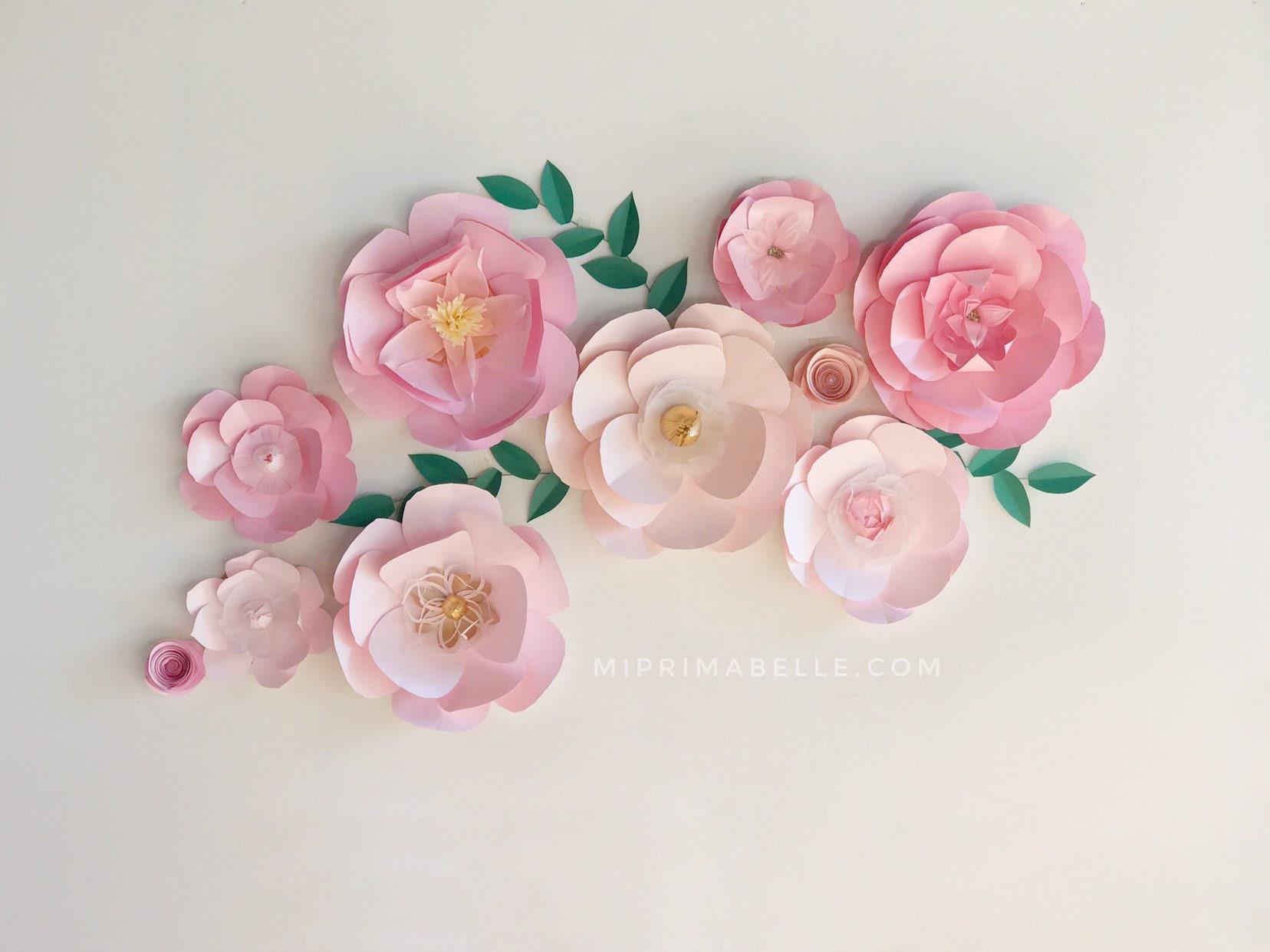 Paper Flowers Backdrop Large Pink Flowers Decor