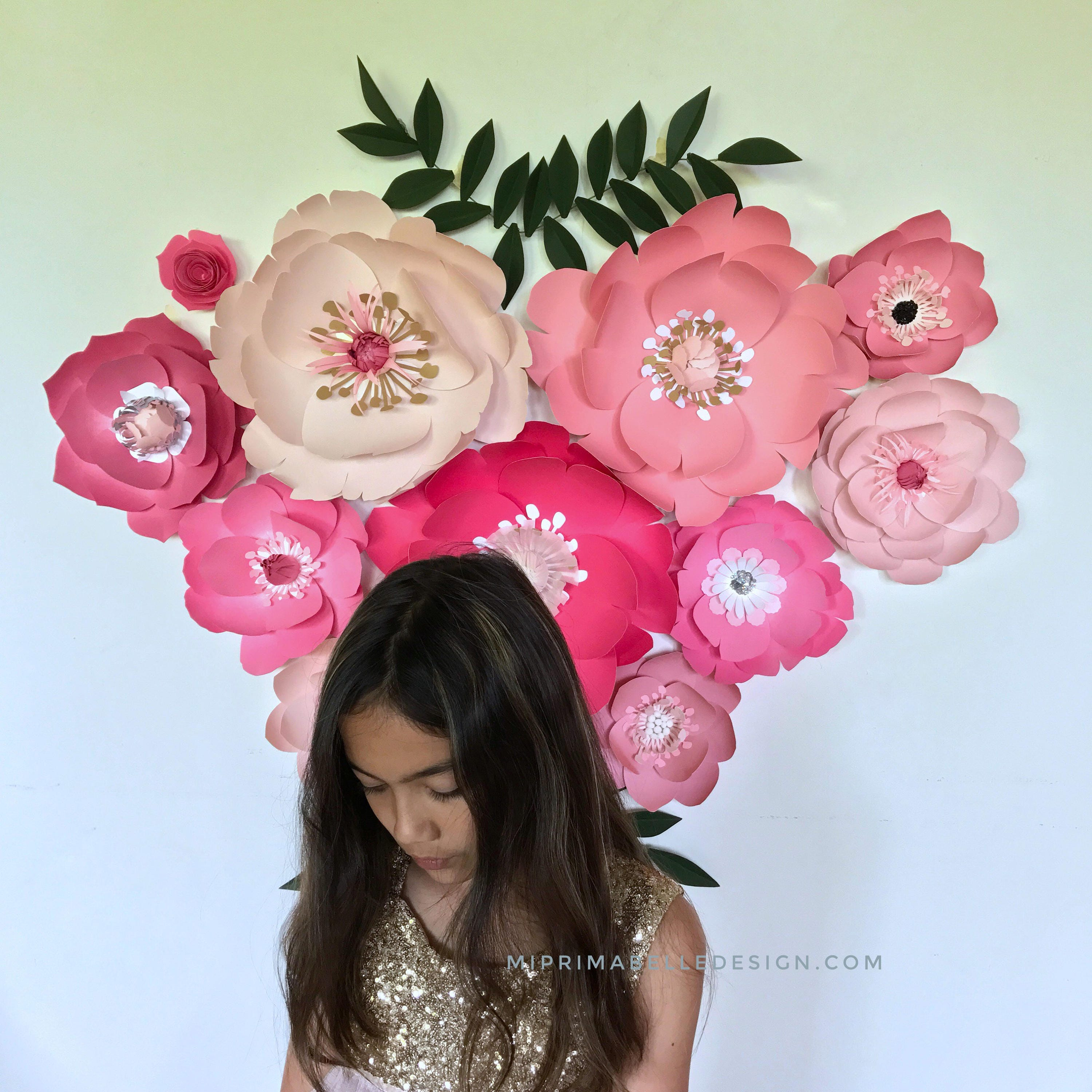 Paper flowers pink baby girl nursery room giant flower wall decor paper flowers pink baby girl nursery room giant flower wall decor girl first birthday party backdrop wedding flowers photo booth decor izmirmasajfo