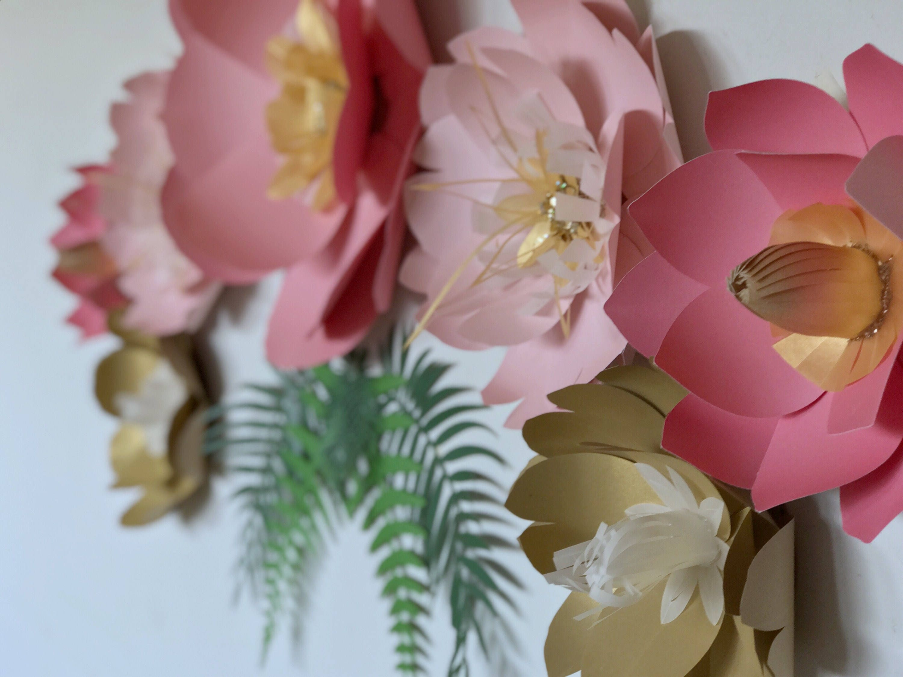 Coral pink nursery flower wall paper flower bedroom accent 3D wall art giant paper flower backdrop gold flower decor birthday party & Coral pink nursery flower wall paper flower bedroom accent 3D wall ...