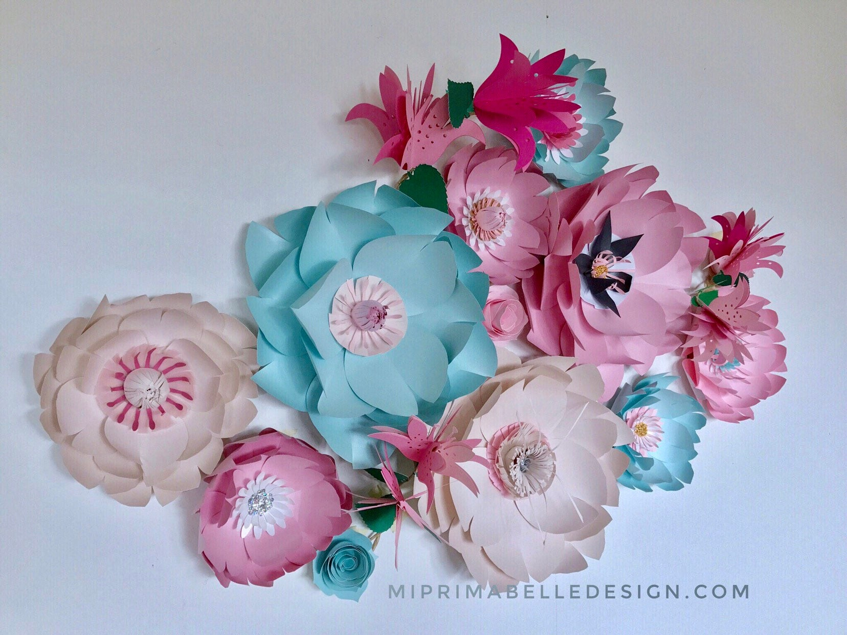 Pink Lily Blue Floral Nursery Decor Peony Paper Flowers Light Blue