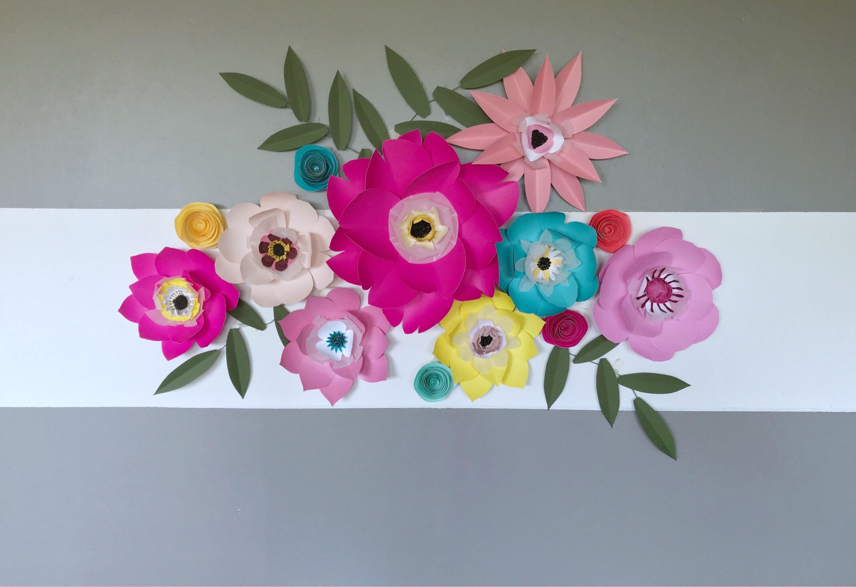 Large paper flowers wall decor nursery decor wedding backdrop flower ...