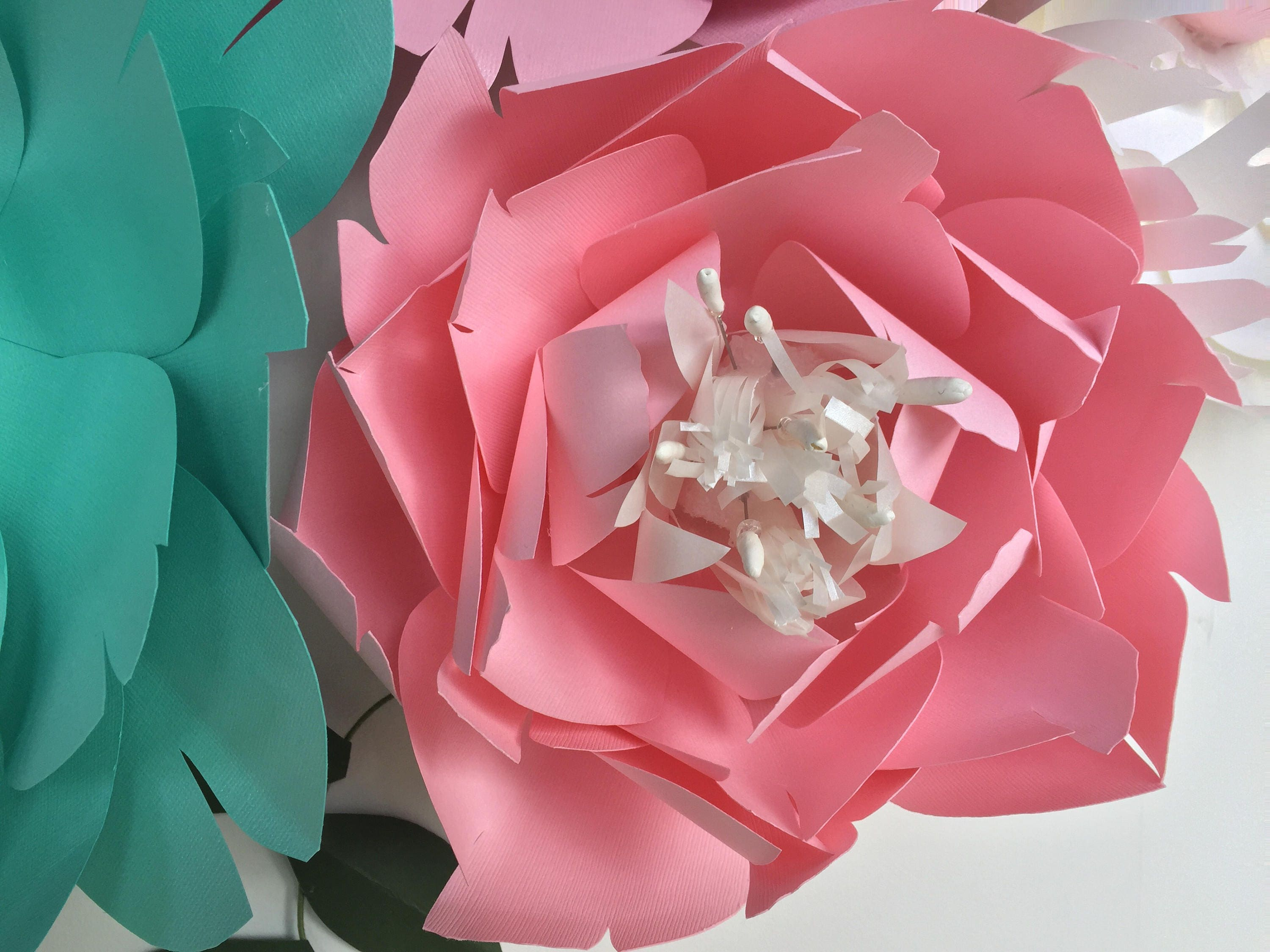 Turquoise wall decor paper flowers wall decor baby girl nursery teal ...