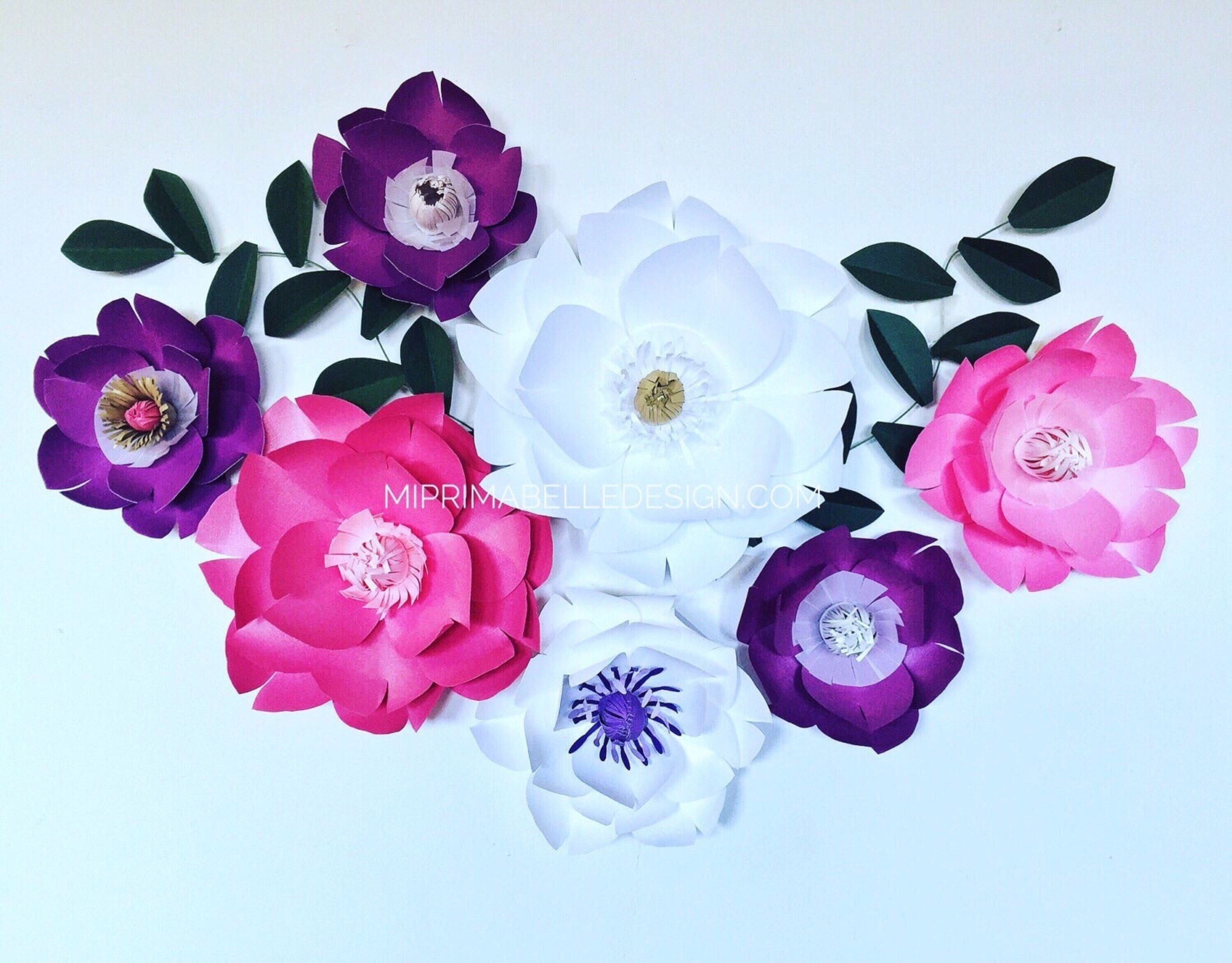 Paper Flowers Wall Decor Large Purple Flower Wall Baby Nursery White