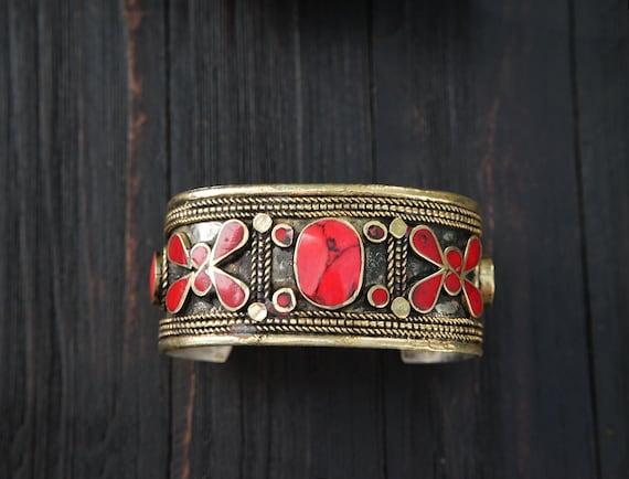 Ethnic cuff bracelet Stone Bracelet Nepal Tibet-Bracelet Cuff Tribal