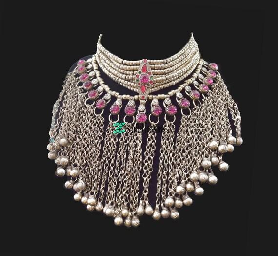 Hot Pink Kashmiri Chain Choker,Tribal Choker,Ethni
