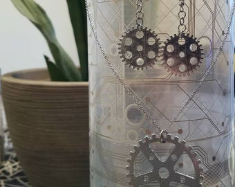 Steampunk Gear Earrings/Necklace