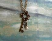 Italian Brass Key Necklace, Vintage Furniture Hardware Jewelry- B1
