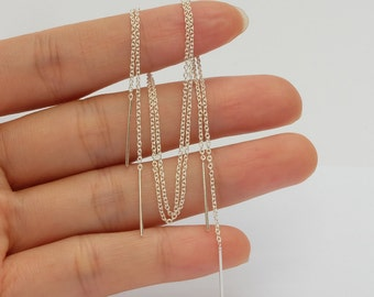 Sterling Silver Threader Earrings , thread earrings , long chain threader earring ,