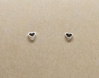 Tiny heart sterling silver stud earrings, open heart shaped minimalist earring everyday earrings,  geometric studs