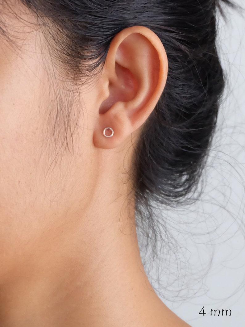 Ring Circle Silver Stud Earrings minimalist stud earrings image 0