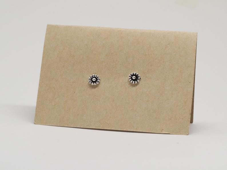 Tiny Black Flower Sterling Silver Stud Earrings
