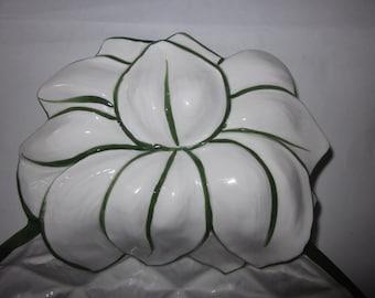 Vintage italian ceramiche virginia pedestal bowl dish brown made
