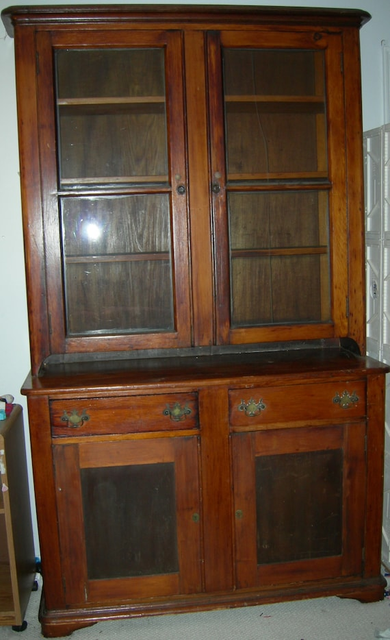 image 0 - Antique Cherry Stepback Cupboard/Hutch 1825-1865 From Etsy