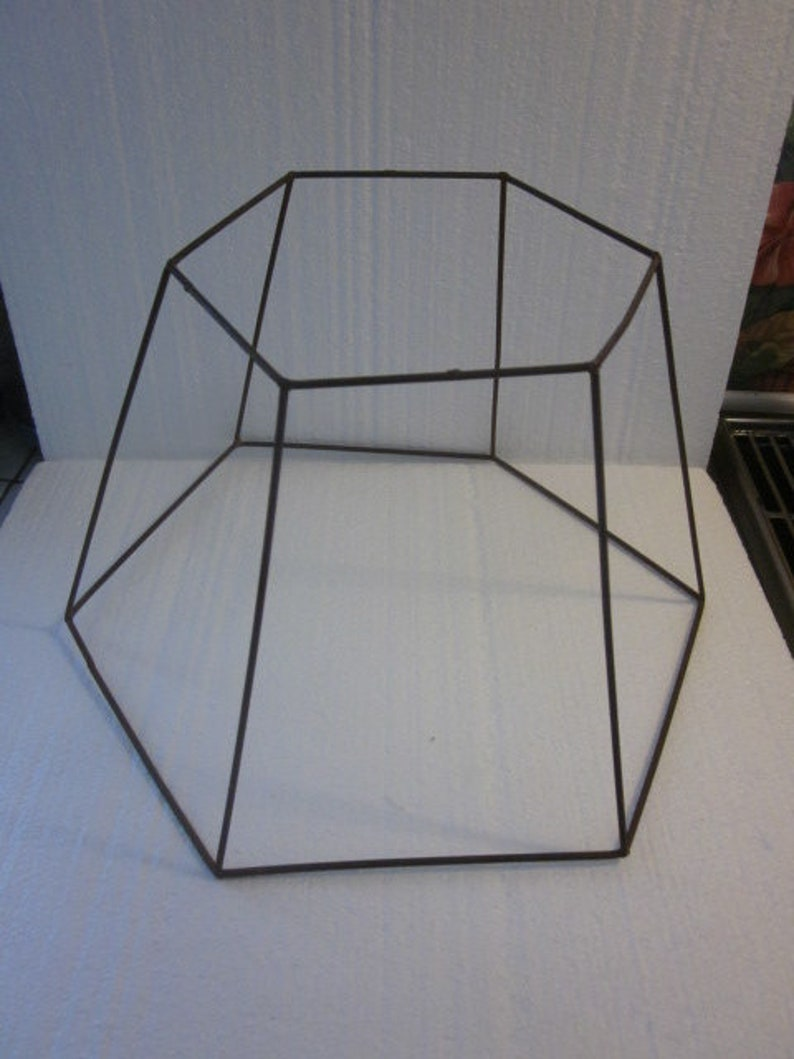 8df3a95cf633 Vintage Wire Lamp Shade Frame Hexagonal 6 Sided
