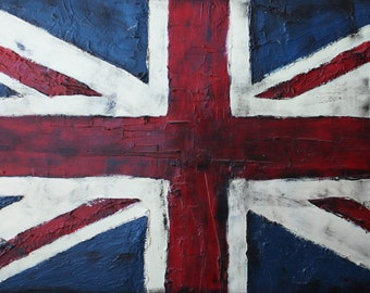 Artistic British flag, Handmade Modern painting hand painted, acrylic and stuccho on wood. Painted in relief, Size: 100x50 CM