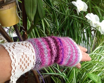 Arm warmers purple, pink, ecru, wool and lace size S, hand-made Creation de France, only one HeyLaineInfrance, Madame Bovary.