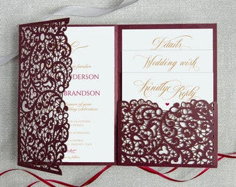 Laser Cut Wedding Invitation Pocket Etsy