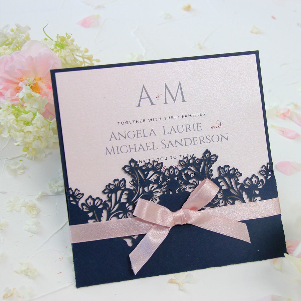 Handmade Wedding Invitation Cards: Navy Blue Pocket Light Pink Handmade Invitation Card