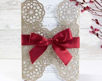 Beautiful Gatefold Personalised Gold Glitter Day Evening Wedding Invitation