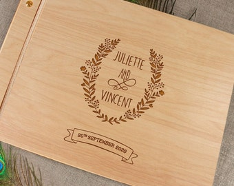 Wedding Guest Book Personalised Custom Made Flower Wreath Rustic Wood