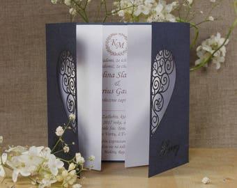 Large Intricate Laser Cut Heart Wedding Invitations Gatefold Handmade
