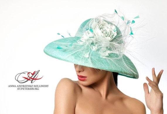 a3d0cfc2 Turquoise Mint White Wide Brim Hat. Audrey Hepburn Hat.   Etsy