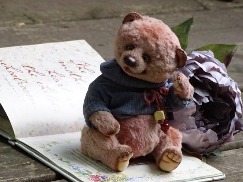 Plush Teddy Bear Pink Artist Teddy Bear Collectible handmade OOAK