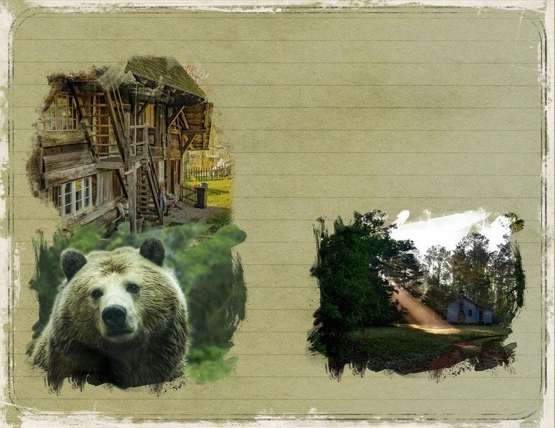 ephemera scrapbooking pages Hideaway Cabin PRINTED junk journal kit collage