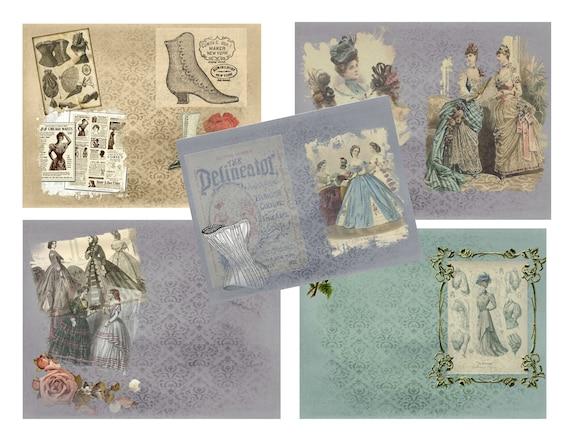 ephemera Victorian Hats set 3 PRINTED junk journal cards scrapbooking