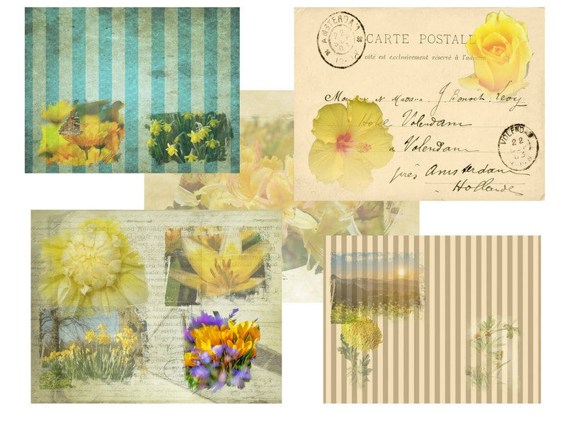 journal pages scrapbooking pages florals Yummy Yellow PRINTED junk journal kit