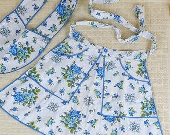 Vintage Floral Half Apron with Collar Bib, 2 Large Pockets