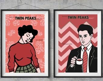 Twin Peaks Alternative Movie Poster- Audrey Horne and Agent Cooper - Original Illustration