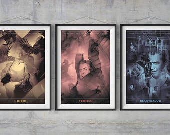 Hitchcock Set of 3 Alternative Movie Posters - Computer Generated Artwork