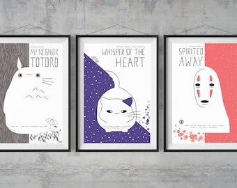 Miyazaki's Set of 3 Alternative Movie Posters - Minimal Posters