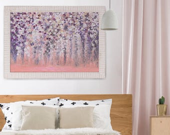 Abstract Painting Wall Art Acrylic Painting Abstract Original Painting Abstract Art Pink Wall Art Peach Flower Art Flower Painting