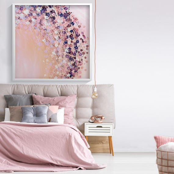 Pink Wall Art Prints Bedroom Wall Decor Pink Flowers Print Etsy