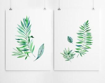 Watercolor Leaves Print Set Watercolor Painting Watercolor Leaf Print Set Of 4 Watercolor Print Leaf Print Wall Art Set Watercolor Art
