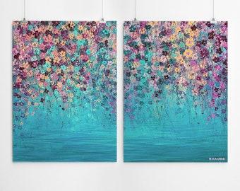 Impressionist Painting Set Of 2 Wall Art Abstract Set Of 2 Prints Aqua Wall Art Prints Impressionist Art Abstract Art Print Flower Art Print