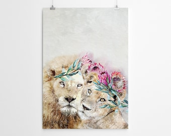 Wall Art Lion Watercolor Painting Lion Nursery Wall Art Lion Watercolor Print Lion Watercolor Art Watercolor Lion For Nursery