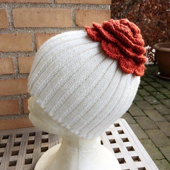 Womens knit flower hat white winter hat crochet flower  822506c8543