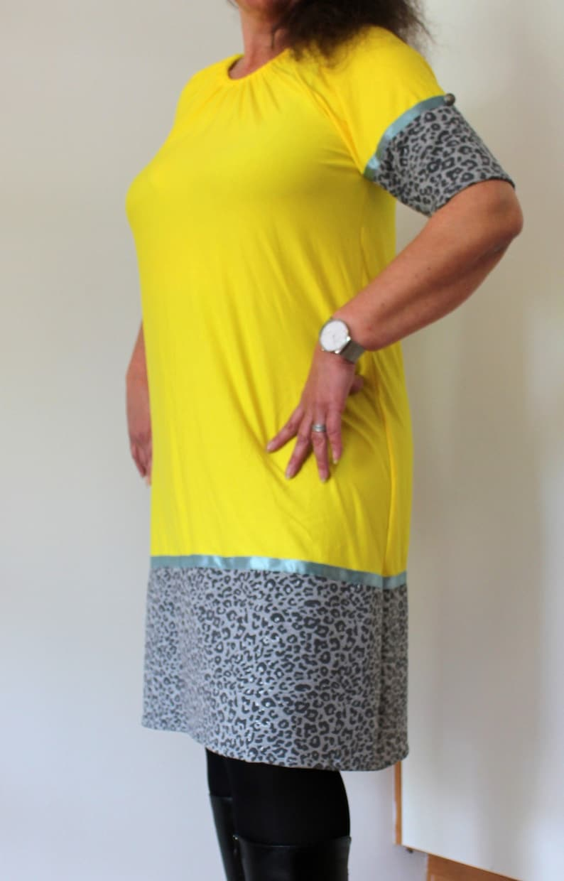 c42ddf7a3e2 Yellow tunic dress sale leopard midi dress loose fit day | Etsy