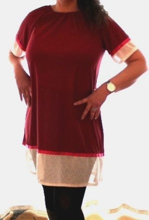 53ad07dba27 Bordeaux red tunic dress sale white lace dress for women | Etsy